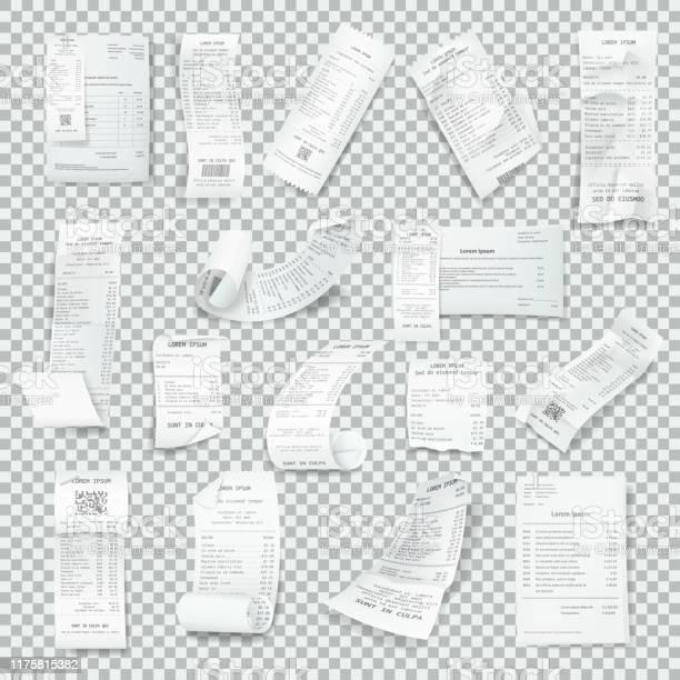 Set Di Ricevute Realistico Calpestato Ricevute Cartacee Con Pagamento - Immagini vettoriali stock e altre immagini di A quadri