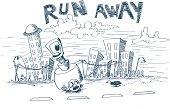 run away vector illustration