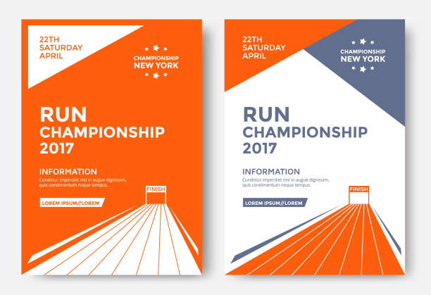 Run championship poster vector art illustration