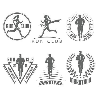 Run club labels and emblems