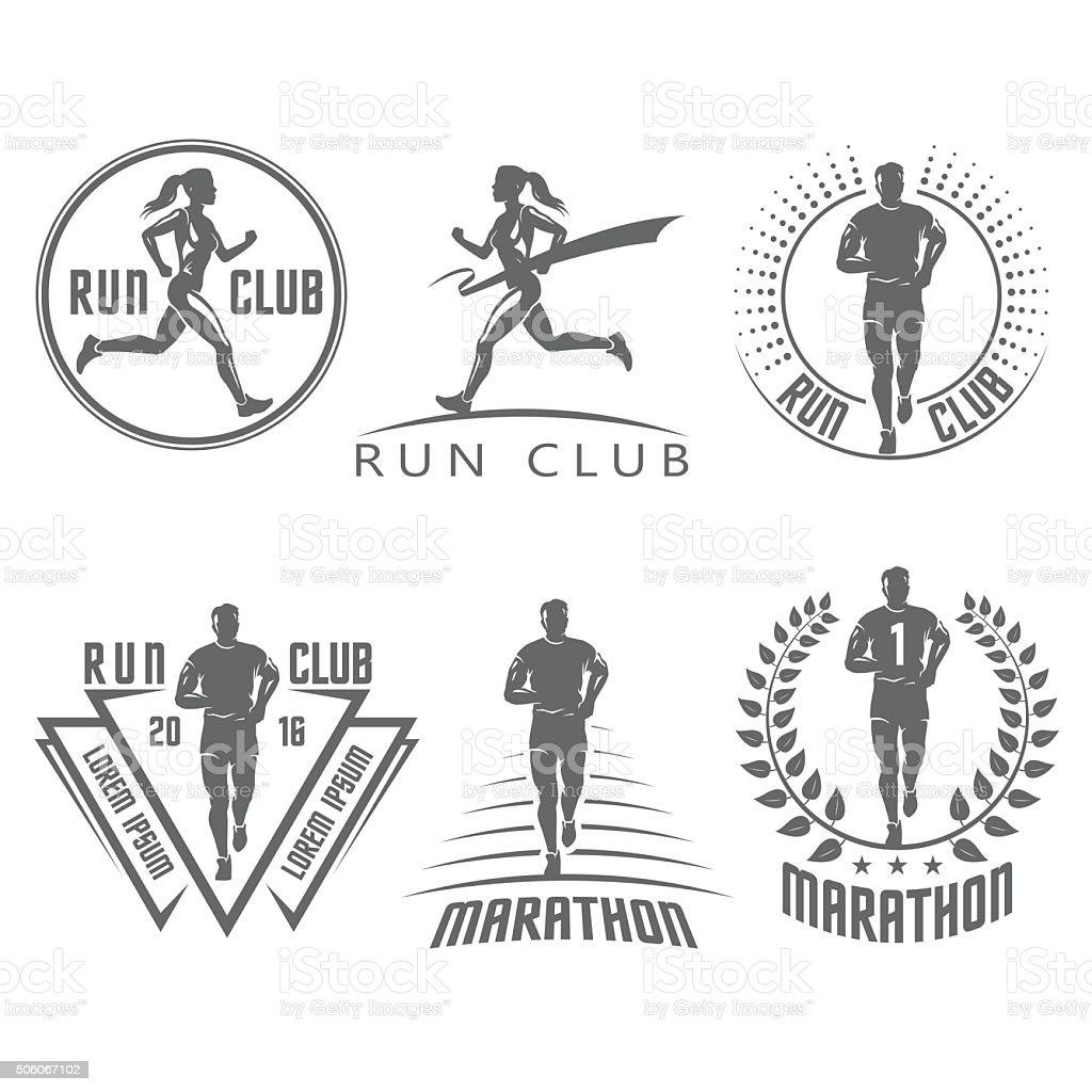 Run club labels and emblems vector art illustration