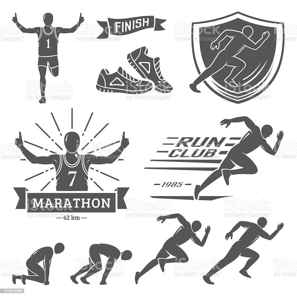 Run club labels, emblems and design elements. vector art illustration