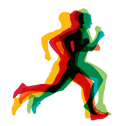 Run, colorful vector silhouettes