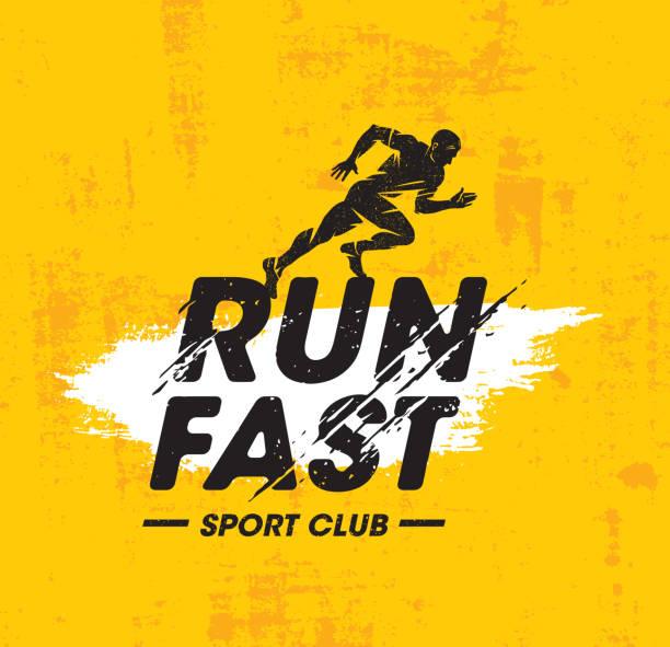 run fast sport club creative vector illustration on rough texture yellow background. - running stock illustrations