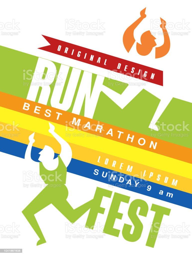 Run Fest Colorful Poster Best Marathon Jriginal Design Template For