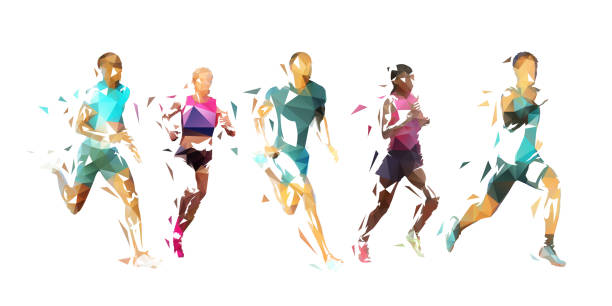 Run, group of running people, low poly vector illustration. Geometric runners Run, group of running people, low poly vector illustration. Geometric runners running stock illustrations