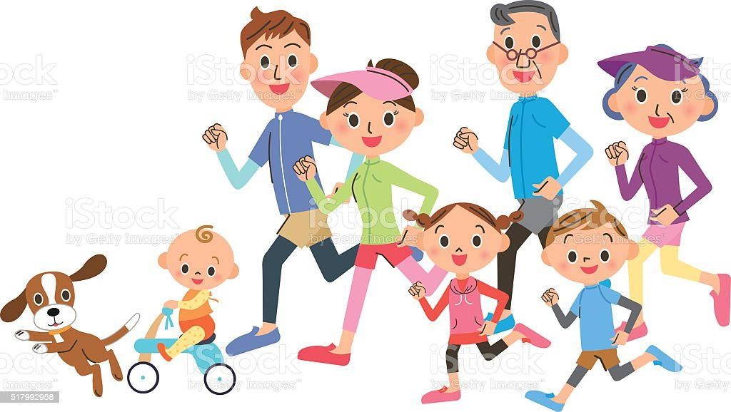 Family running race