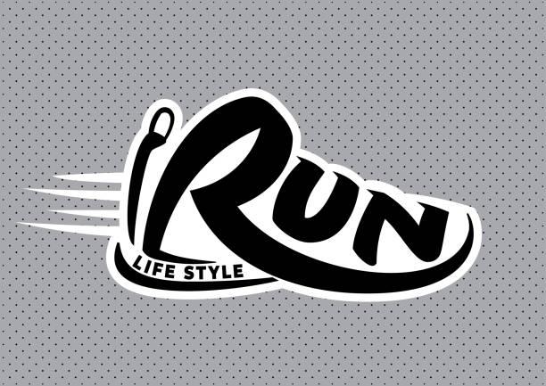 stockillustraties, clipart, cartoons en iconen met run belettering embleem - running shoes