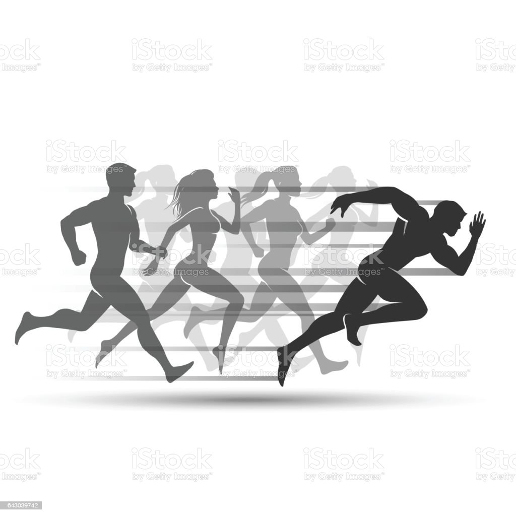 Run people on white background vector art illustration