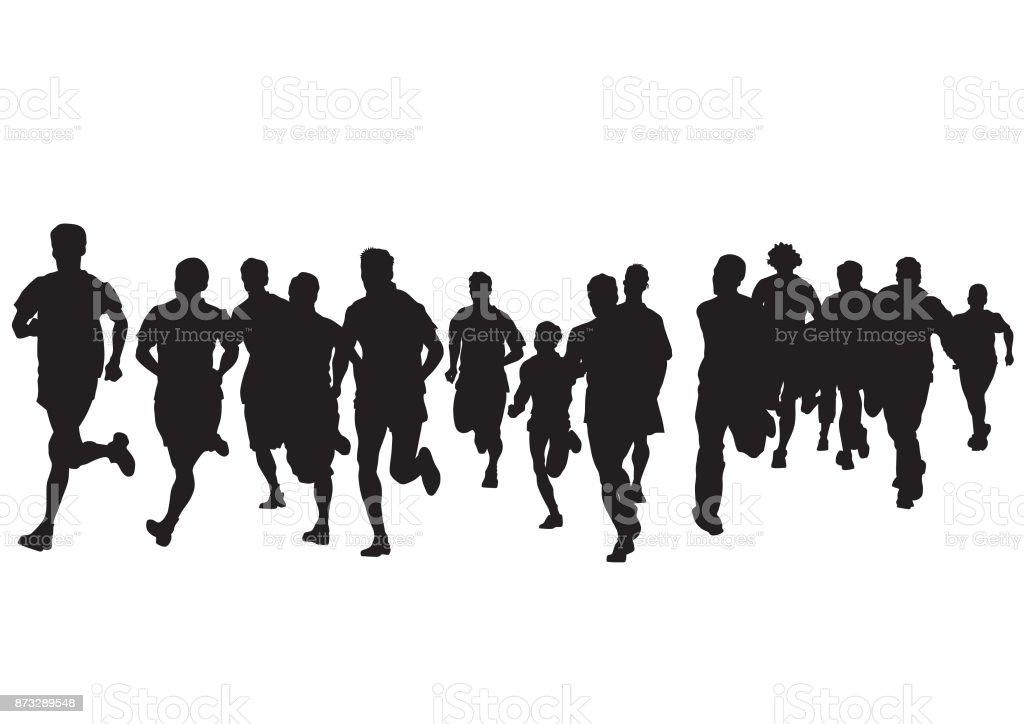 Run people vector art illustration