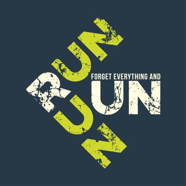 ilustraciones, imágenes clip art, dibujos animados e iconos de stock de run run arrancad camiseta y ropa de diseño con efecto grunge. - moda playera