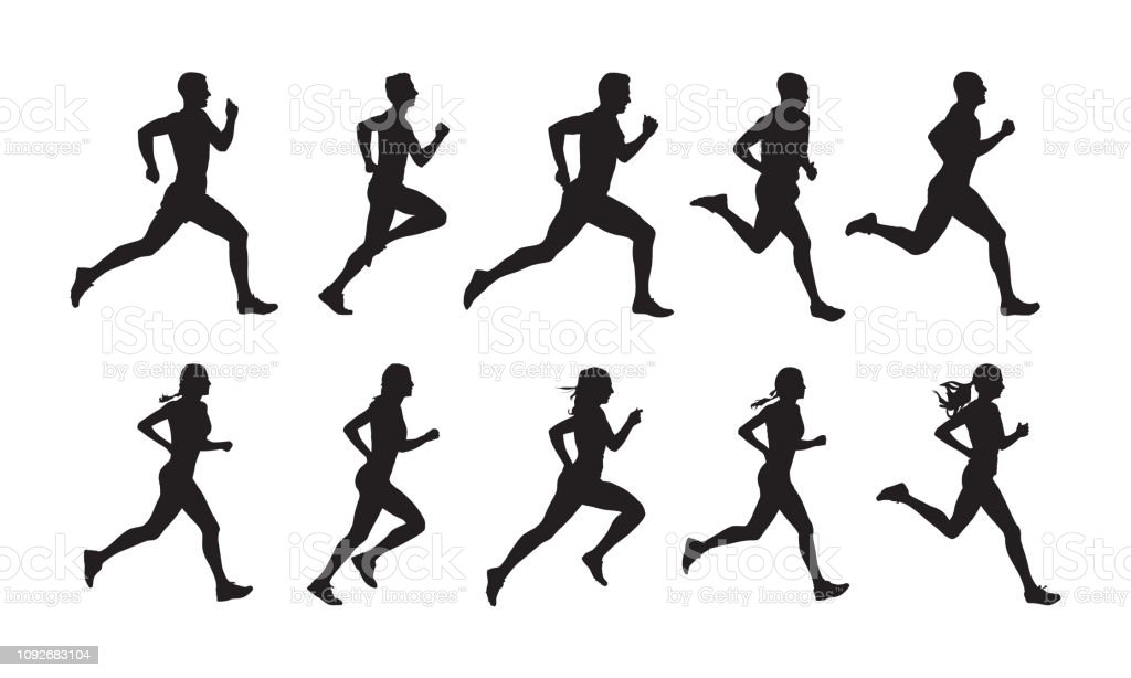 Run, set of running people, isolated vector silhouettes. Group of  men and women runners - Royalty-free Adult stock vector