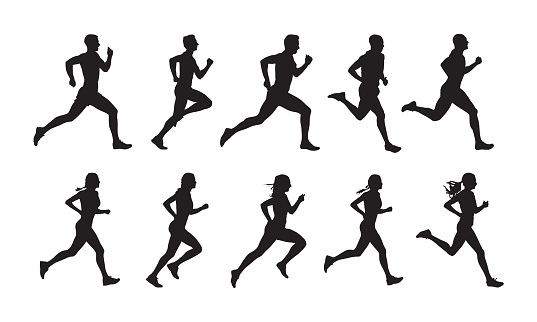 Run, set of running people, isolated vector silhouettes. Group of  men and women runners