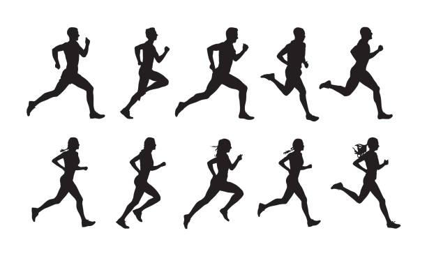 bieganie, zestaw ludzi biegających, odosobnione sylwetki wektorowe. grupa biegaczy kobiet i mężczyzn - neutralne tło stock illustrations