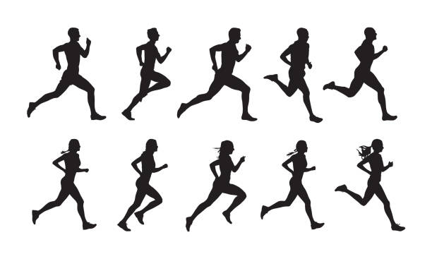 Run, set of running people, isolated vector silhouettes. Group of  men and women runners Run, set of running people, isolated vector silhouettes. Group of  men and women runners in silhouette stock illustrations