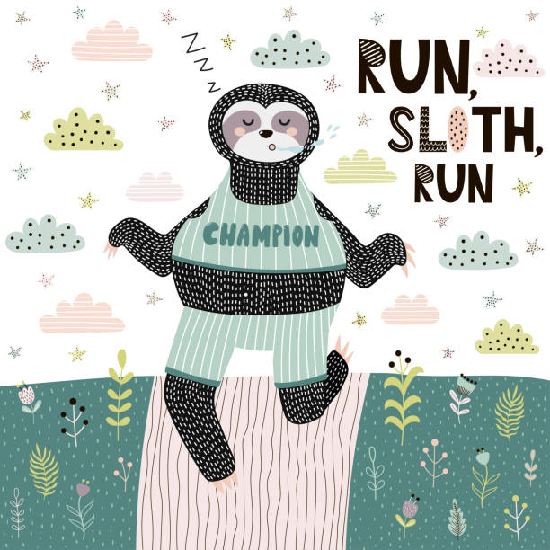 Run Sloth funny print. Cute card with sleeping and running sloth in Scandinavian style Run Sloth funny print. Cute card with sleeping and running sloth in Scandinavian style. Motivational quote. Vector illustration baby sloth stock illustrations