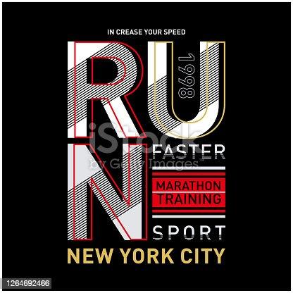 istock Run sport athletic typography,tee shirt graphics 1264692466