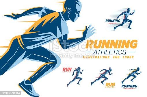 istock Run sport club logo templates set 1206873944