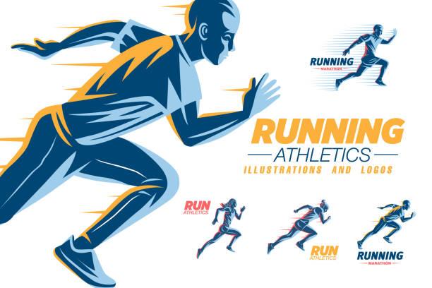 stockillustraties, clipart, cartoons en iconen met sportclub logo sjablonen set uitvoeren - running