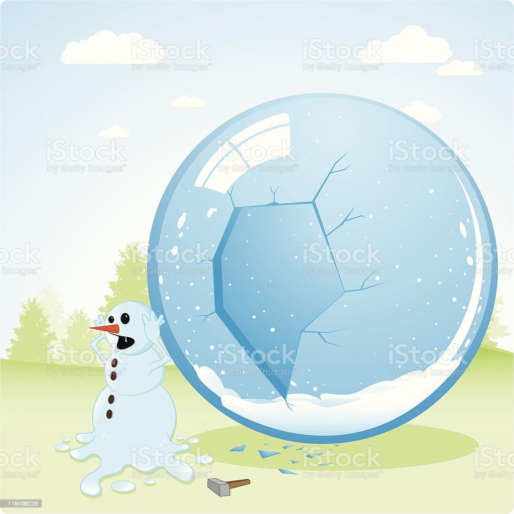 Runaway snowman vector art illustration