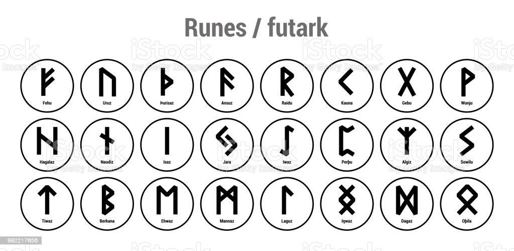 Runes Black Runic Alphabet Old Norse Icelandic And German Vector