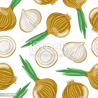Seamless pattern with bulb onion - whole, half and sliced, top and side view, textured vector illustration on white background. Seamless pattern with whole and cut bulb, common onion, grunge effect
