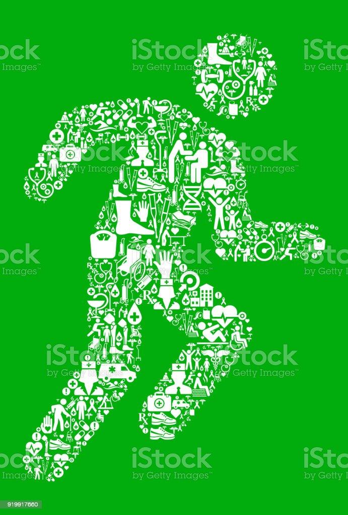 Runner Athlete Green Medical Rehabilitation Physical Therapy vector art illustration