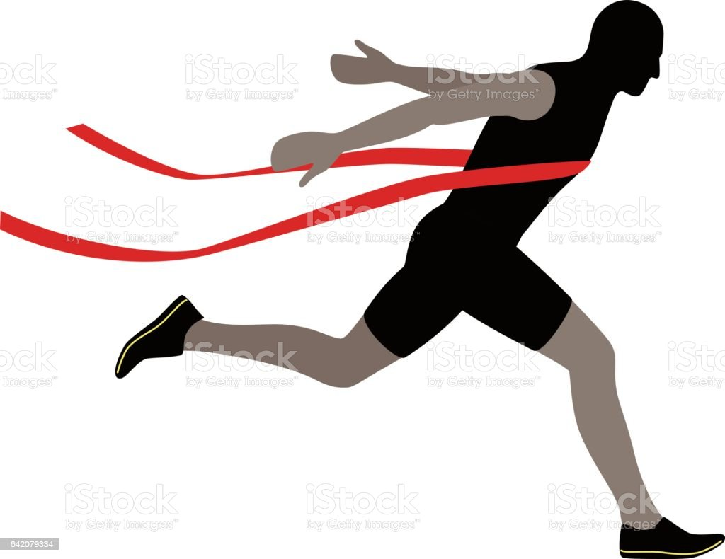 Runner crossing the finish line, vector illustration vector art illustration