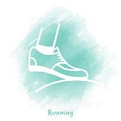 Vector running shoe doodle sketch over watercolor background.