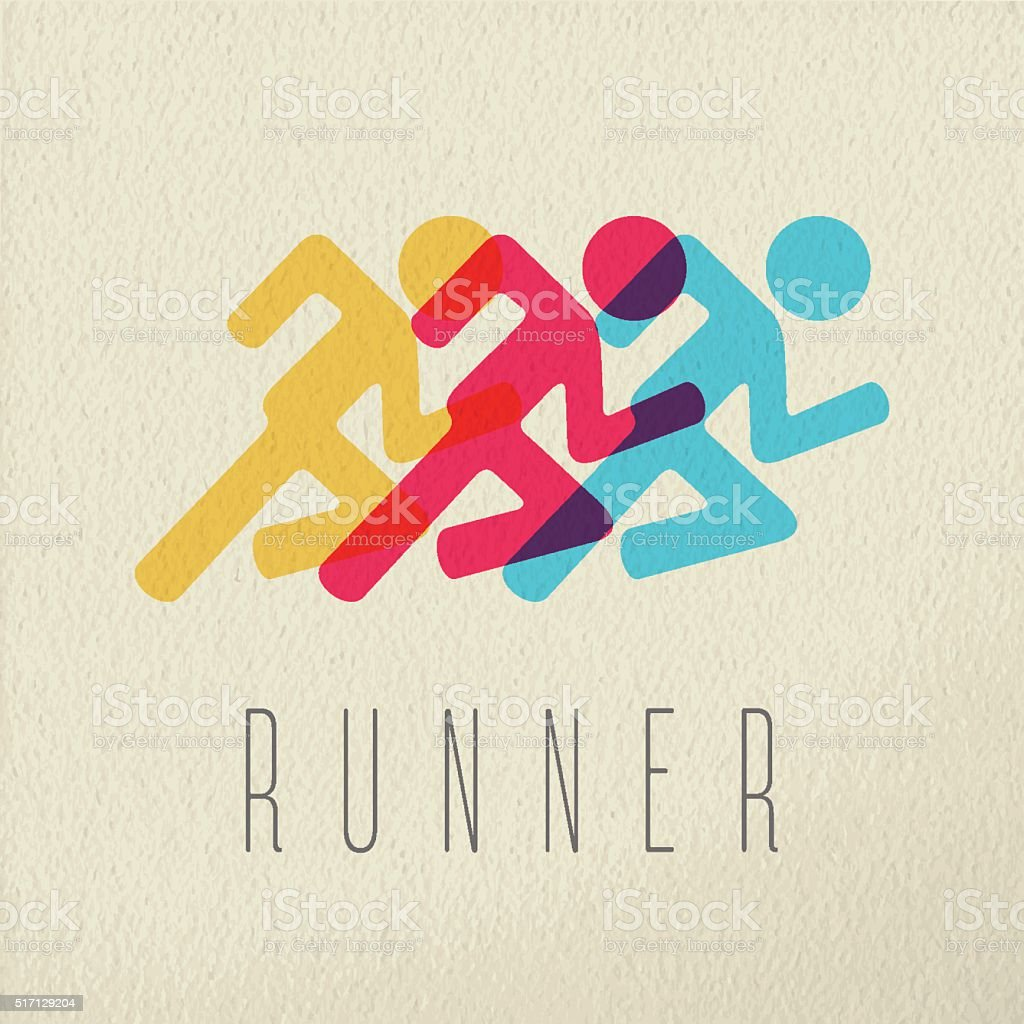 Runner fitness people concept icon color design vector art illustration