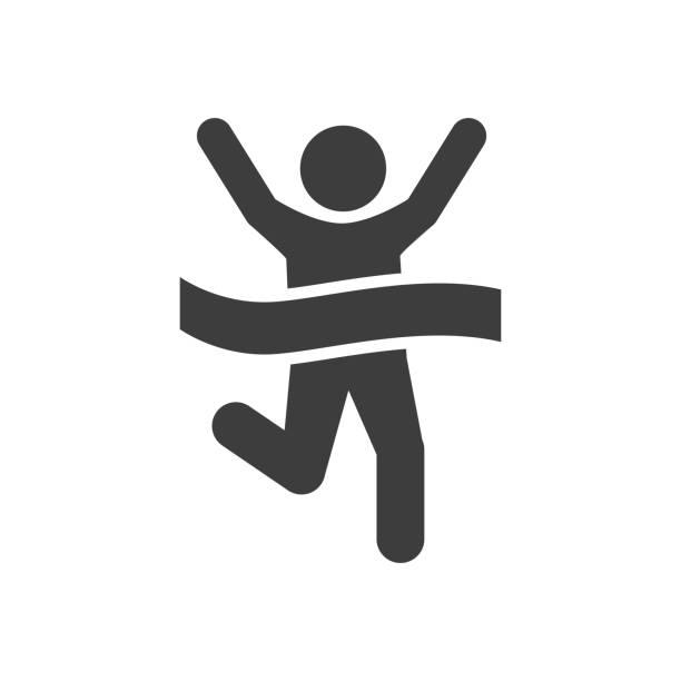 runner icon - finish line stock illustrations, clip art, cartoons, & icons
