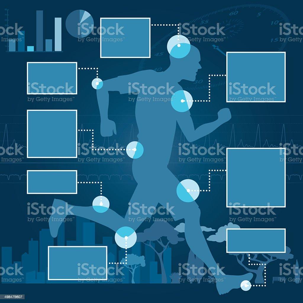 Runner infographics vector art illustration