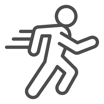 Runner line and solid icon. Sportsman running with speed motion symbol, outline style pictogram on white background. Healthy lifestyle or sport sign for mobile concept and web design. Vector graphics.