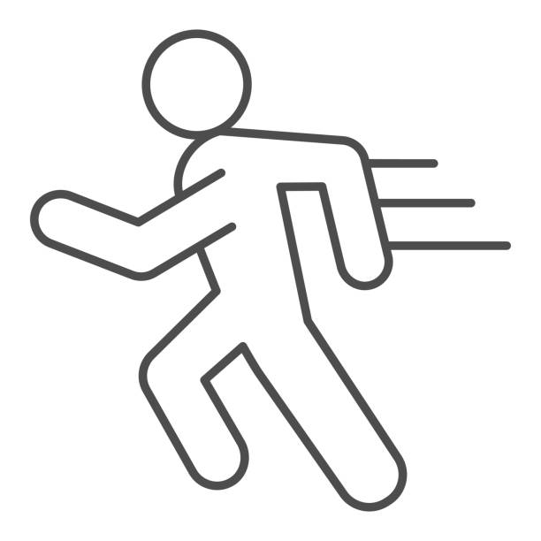 Runner line and solid icon. Sportsman running with speed motion symbol, outline style pictogram on white background. Healthy lifestyle or sport sign for mobile concept and web design. Vector graphics. Runner line and solid icon. Sportsman running with speed motion symbol, outline style pictogram on white background. Healthy lifestyle or sport sign for mobile concept and web design. Vector graphics active lifestyle stock illustrations