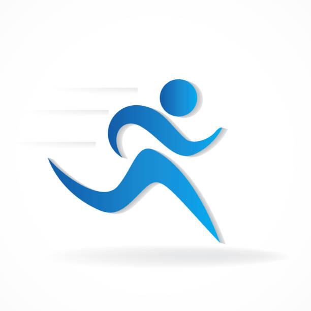 läufer mann figur bild logo - freilauf stock-grafiken, -clipart, -cartoons und -symbole
