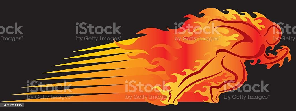 Runner On Fire vector art illustration