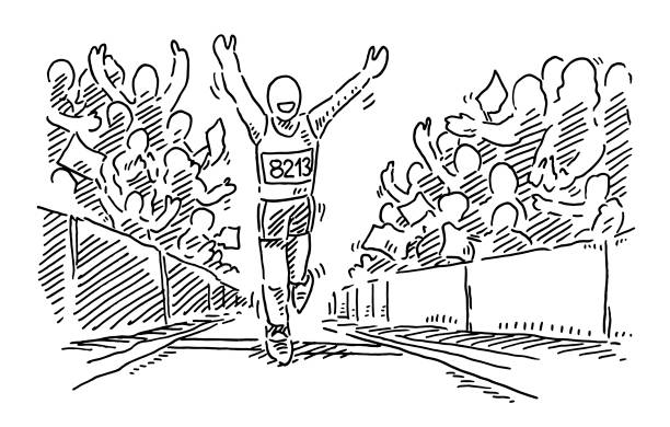 Runner Reaching The Finish Line Applauding Crowd Drawing Hand-drawn vector drawing of a Runner Reaching The Finish Line, the Crowd is Applauding. Black-and-White sketch on a transparent background (.eps-file). Included files are EPS (v10) and Hi-Res JPG. running stock illustrations