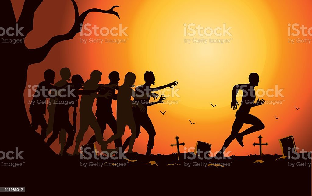 Runner run away from zombie group in the graveyard. vector art illustration