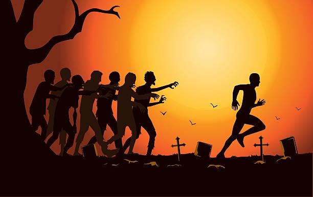 bildbanksillustrationer, clip art samt tecknat material och ikoner med runner run away from zombie group in the graveyard. - zombie