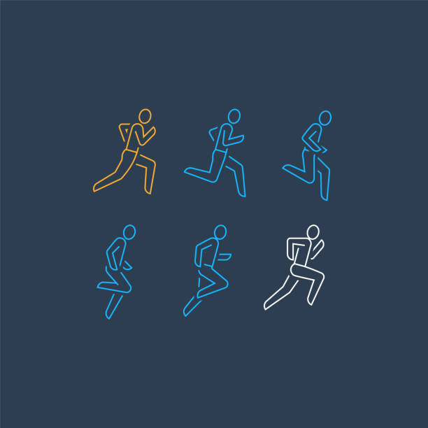 läufer laufen linie personensymbol, motion sequenz satz, marathon und triathlon-konzept - langstreckenlauf stock-grafiken, -clipart, -cartoons und -symbole