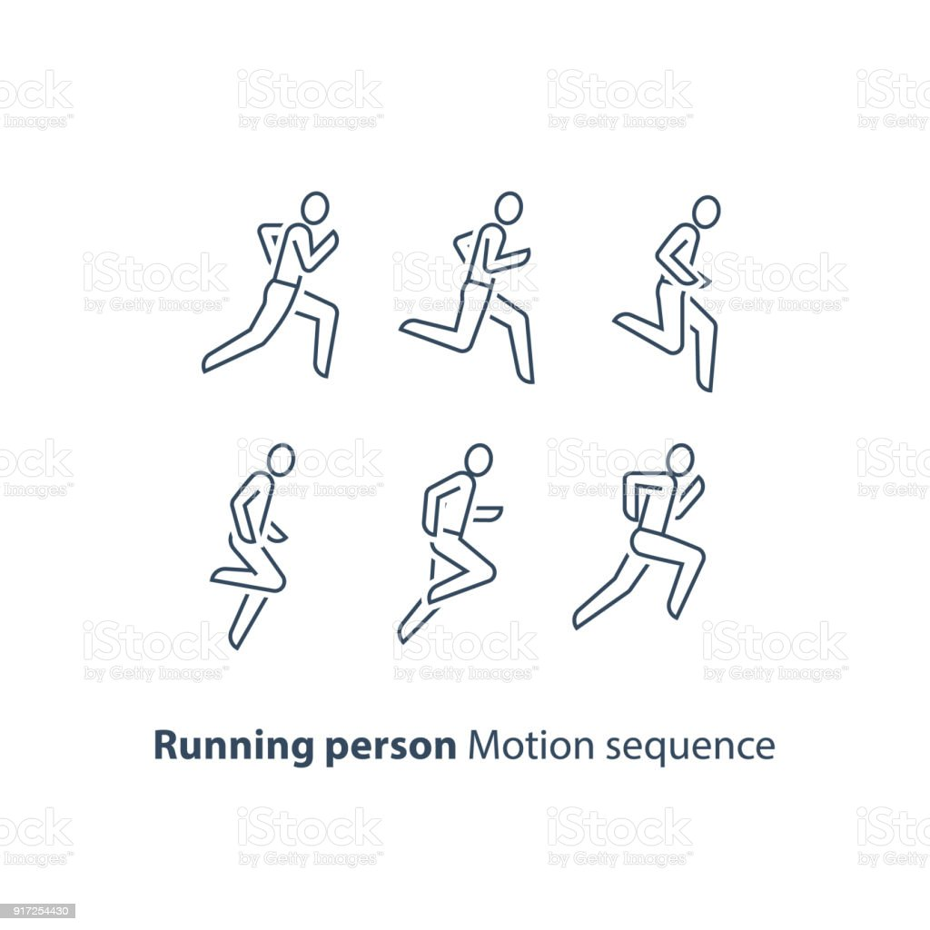 Runner , running person line icon, motion sequence set, marathon and triathlon concept vector art illustration