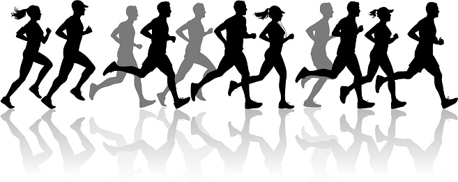 running silhouettes stock illustrations