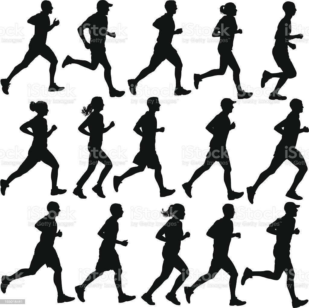 Runner Silhouettes vector art illustration
