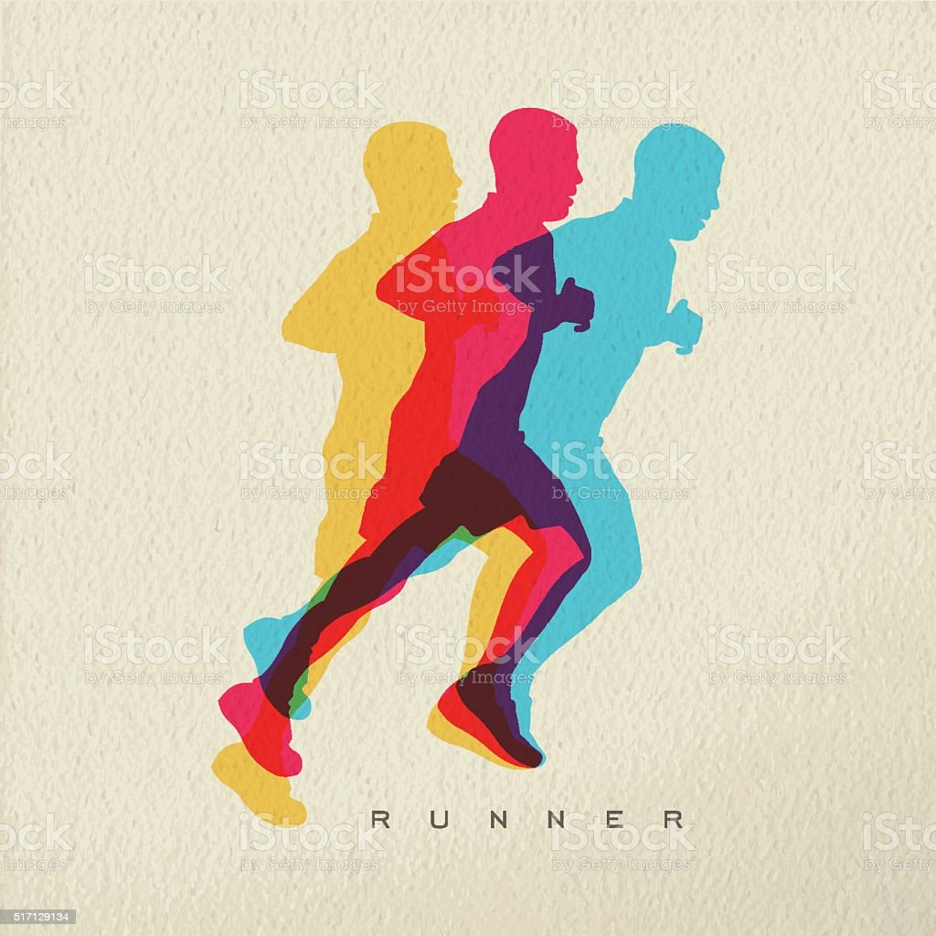 Runner sport man silhouette concept design vector art illustration