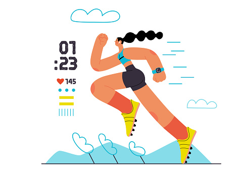 Runners - a woman running and exercising outside