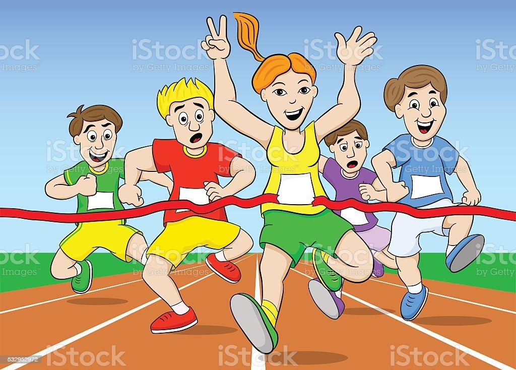 runners and winner vector art illustration