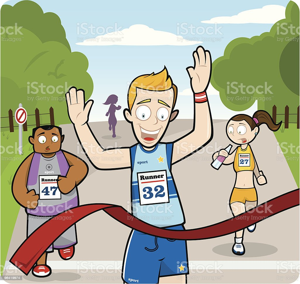 Runners at Crossing Finishing Line in Race royalty-free stock vector art