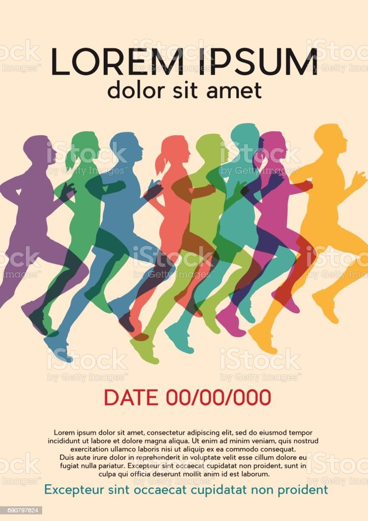 runners at the marathon. Vintage poster, vector background vector art illustration