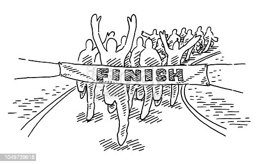 Hand-drawn vector drawing of Runners reaching the Finish Line. Black-and-White sketch on a transparent background (.eps-file). Included files are EPS (v10) and Hi-Res JPG.