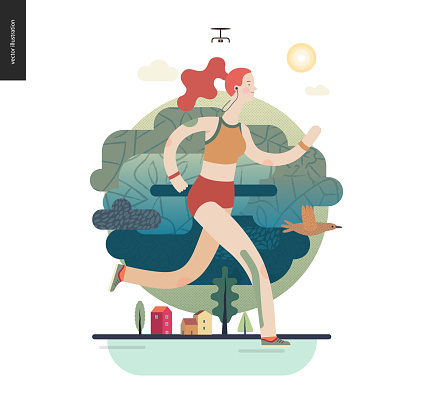 Runners - girl exercising